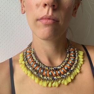 ZARA embroidered bead statement piece necklace